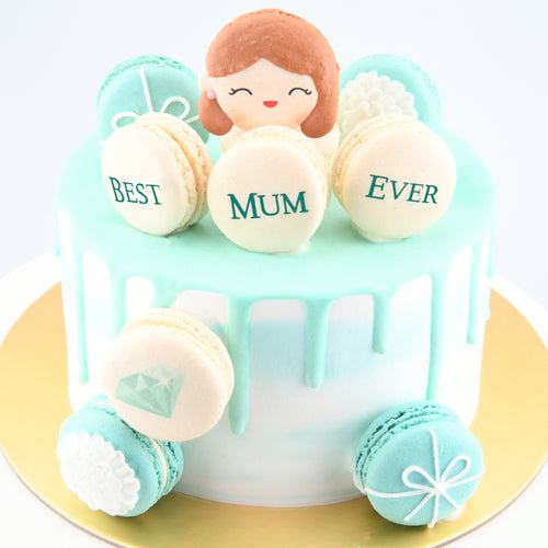 Happy Mother's Day | I Love Mama ♥ Salted Caramel Cake + 10pcs Macarons | FREE 1 Stalk Carnation Flower | Free Mothers Day Cake Topper | Free Delivery | Limited 100 Sets| Early Bird $98 Nett