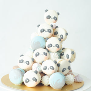 Panda Macaron Tower |  43pcs Macarons Total in a Tower | Use Code: STAYHOME50 | $138