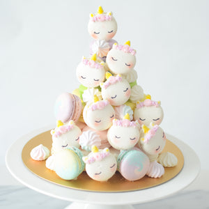 Unicorn Macaron Tower |  43pcs Macarons Total in a Tower | Use Code: STAYHOME50 | $138