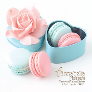 Wedding Door-Gift | 2pcs Macarons |  Turquoise Heart Tin Box  | Packaging: LOVE06