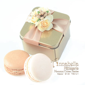Wedding Door-Gift | 2pcs Macarons |  Gold Tin Box with Ribbon  | Packaging: LOVE08