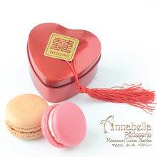"Wedding Door-Gift | 2pcs Macarons | Heart Red Tin Box with ""Xi"" 