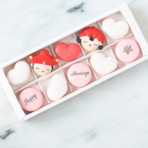 10 pcs Traditional Chinese Wedding Couple Macarons in a Gift Box | Complimentary Ribbon and Personalised Message | $38.80 Nett