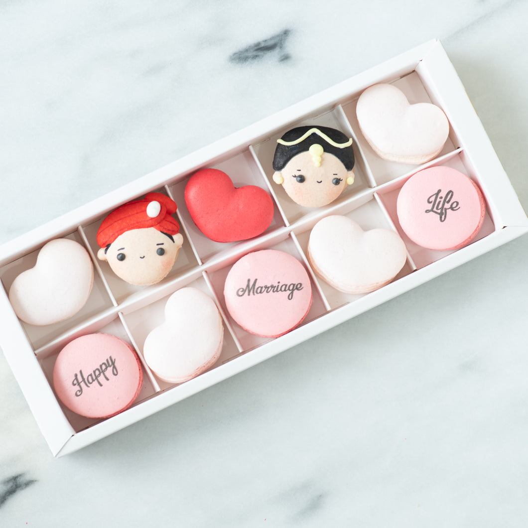 10 pcs Traditional Indian Wedding Couple Macarons in a Gift Box | Complimentary Ribbon and Personalised Message | $38.80 Nett