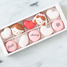 10 pcs Western Wedding Couple Macarons in a Gift Box | Complimentary Ribbon and Personalised Message | $38.80 Nett