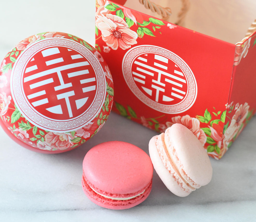 Wedding Macarons (2pc) in Round Tin