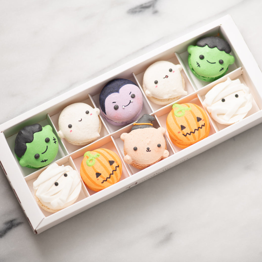 10 pcs Limited Edition Halloween Macarons in a Gift Box (Or individually packed upon request) | Complimentary Ribbon and Personalised Message | $38.80 Nett