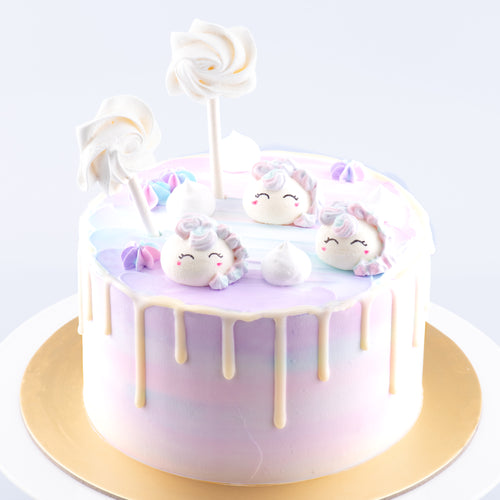 Unicorn Cake Upsize (800g for 10-12 pax) | Vanilla Milk Cream Cheese + FREE 3pcs Unicorn Meringue On Cake | FREE Birthday Topper + Knife +1pc Candle | [25% off] $59.90 Nett Price