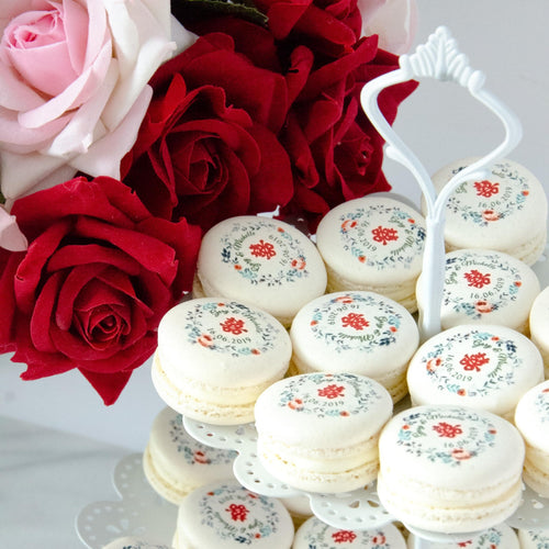 Wedding Macarons 30pcs with Printing