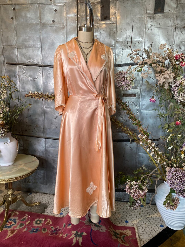 Satin Embroidered Dressing Gown