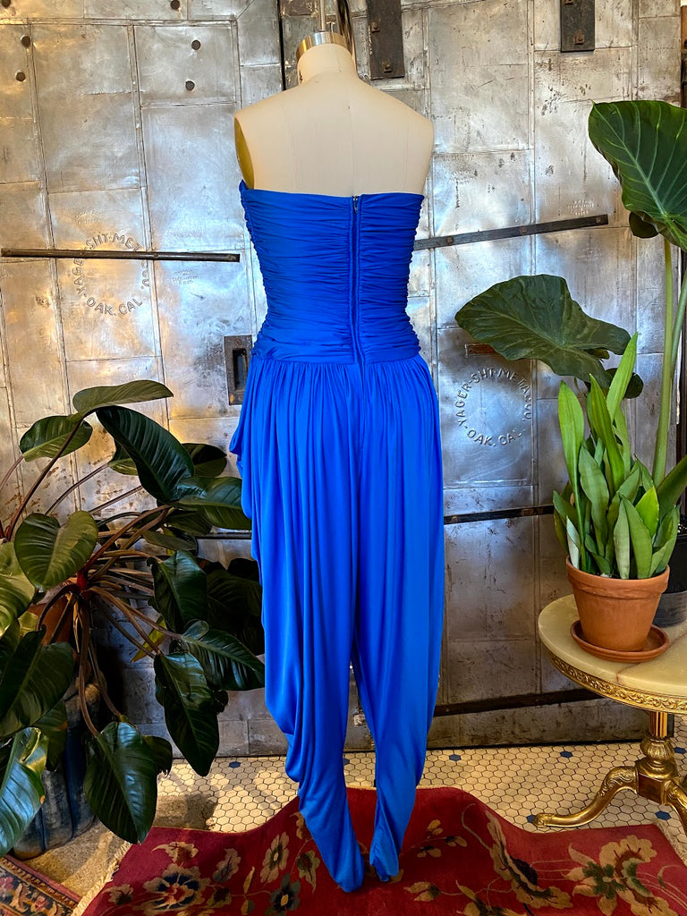 blue strapless jumpsuits