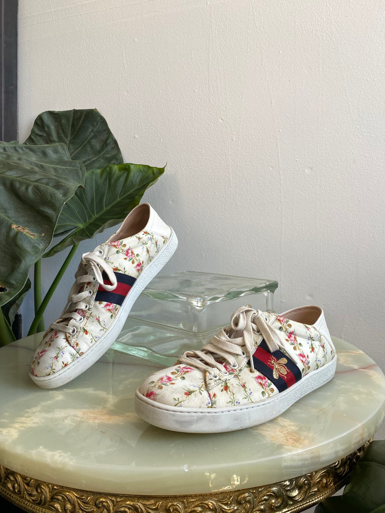 "Gucci Cream Floral ""Ace"" Sneakers"