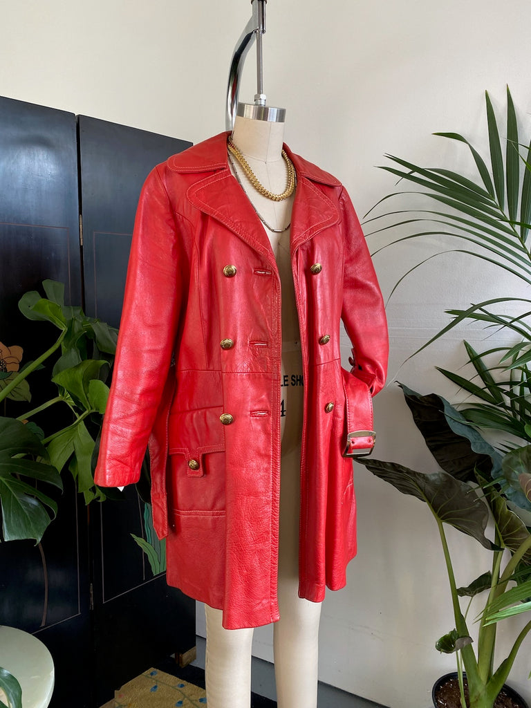 Double Breasted Leather Trench