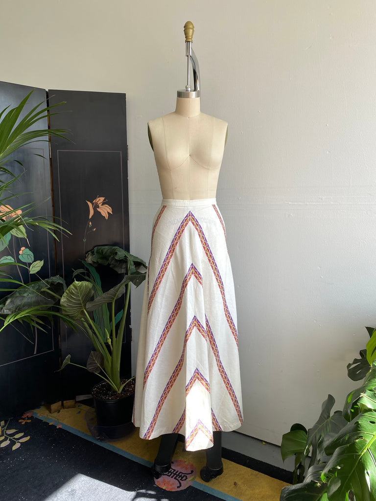 Embroidered Chevron Stripe Skirt