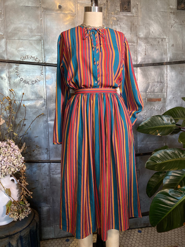 Mixed Stripes Silk Skirt Set