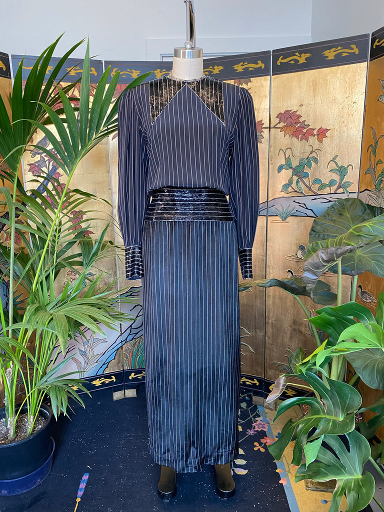 Sequin Pinstriped Dress