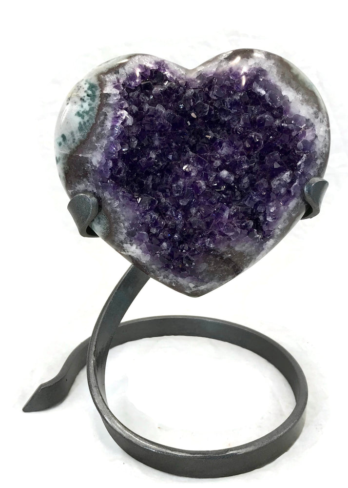Green Banded Standing Amethyst Heart