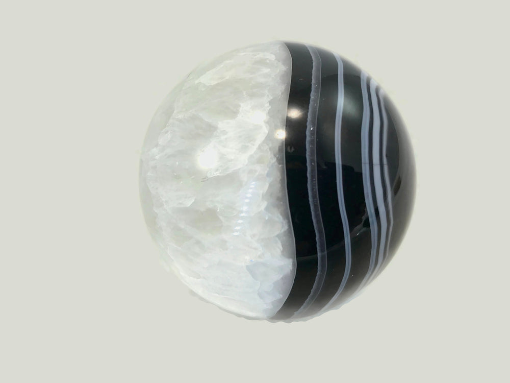 Banded Agate and Quartz Crystal Sphere