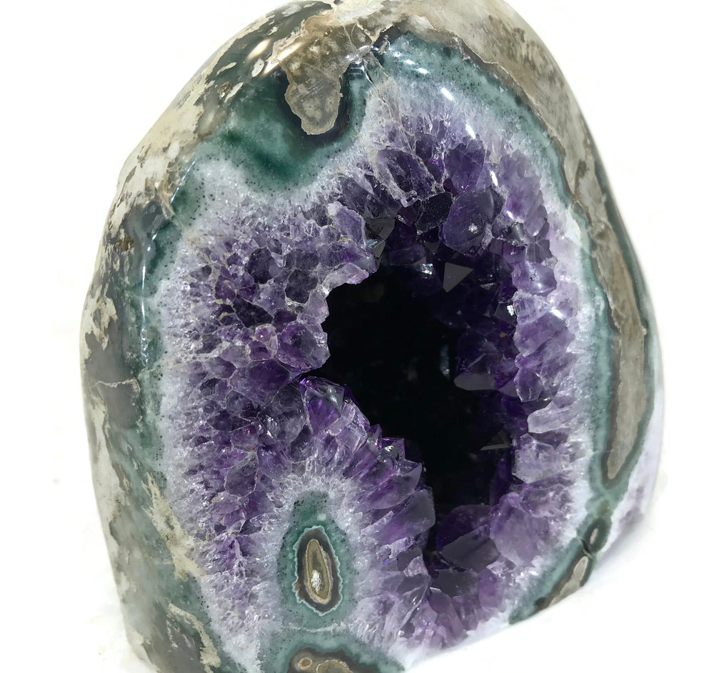 Green Banded Agate with Amethyst Crystals Geode