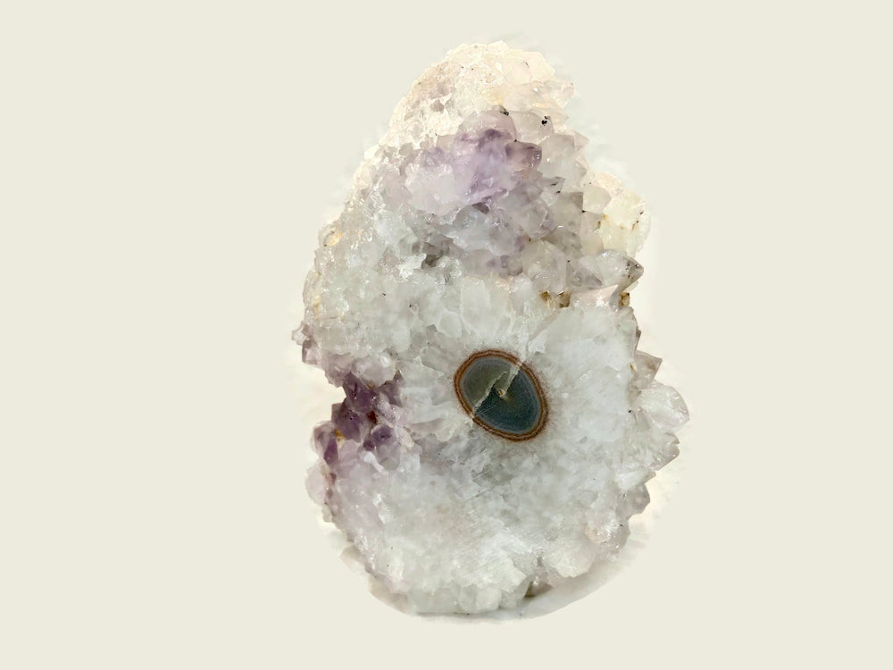 Quartz Crystal Covered Agate With Eyes