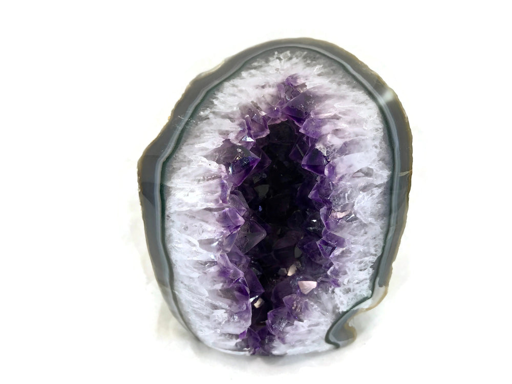 Blue and Green Banded Amethyst Geode