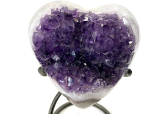 Heart Shaped Brazilian Agate with Large Amethyst Crystals