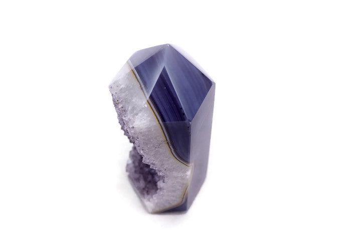 Pale Amethyst and Blue Agate Obelisk