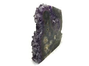 Clear Tipped Amethyst Crystal with Agate Slab