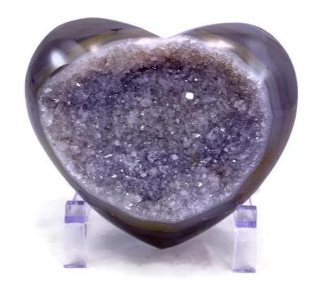 Quartz Crystal filled Agate Geode Heart