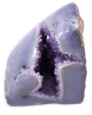 Polished Blue Agate with Amethyst Geode