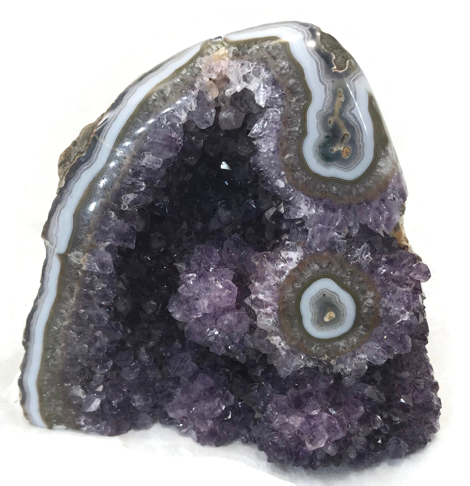 Amethyst Filled Geode Framed by Bright Blue Agate with Eye