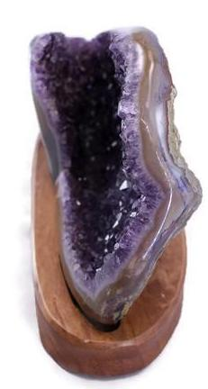 Agate Plate over Amethyst Geode