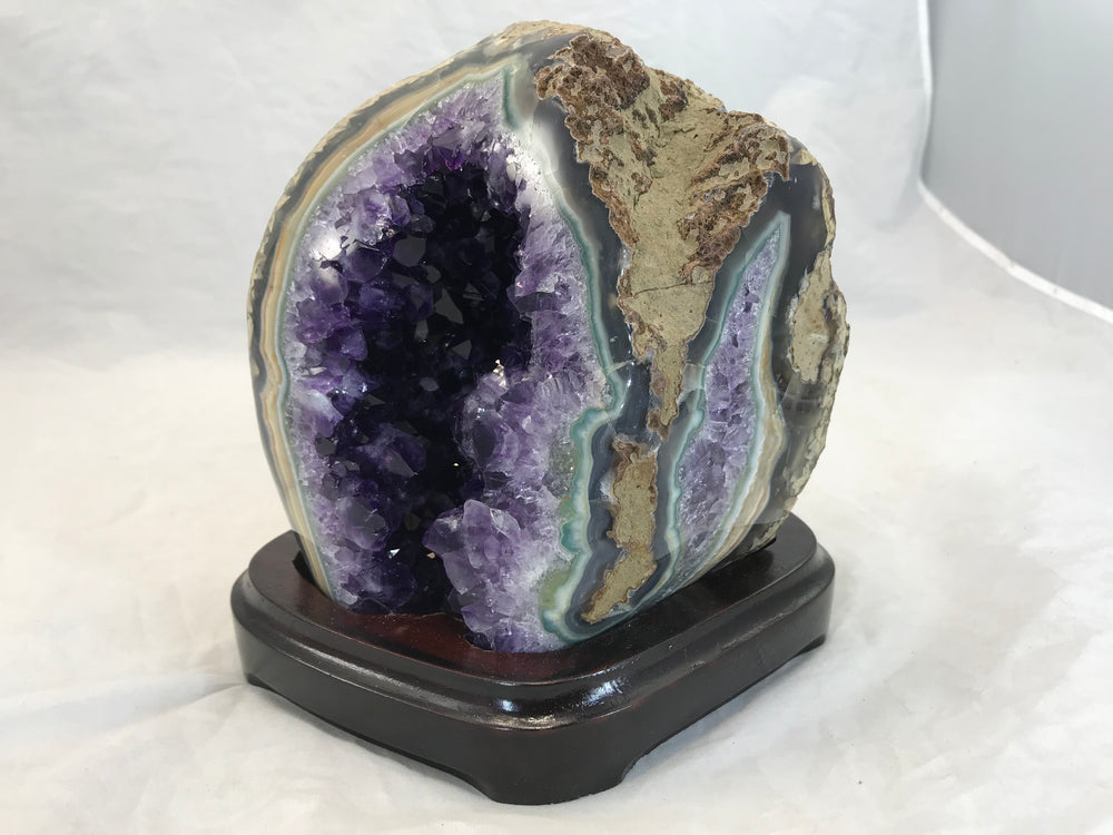 Green Agate with Amethyst Geode
