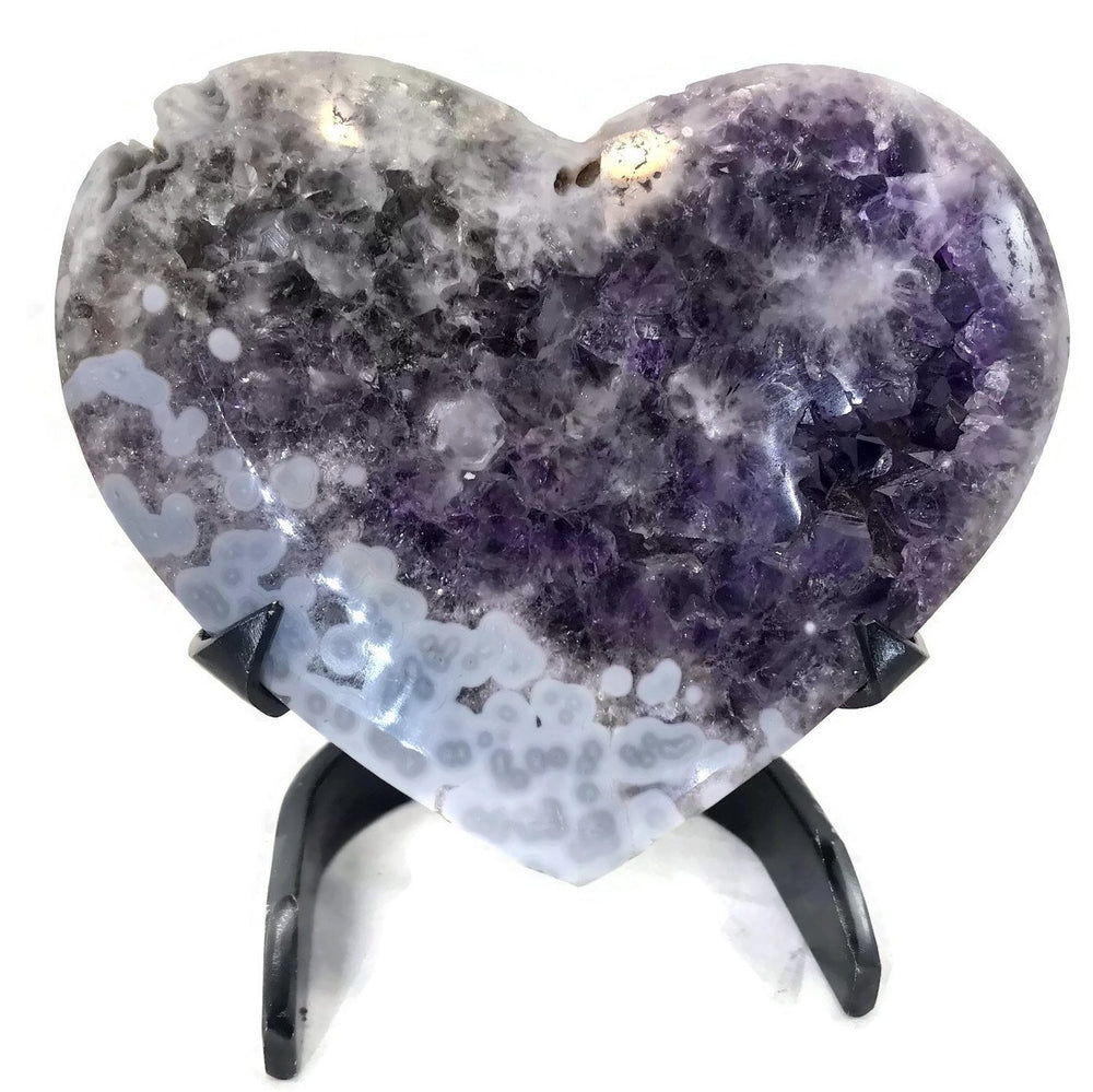 Standing Amethyst with Blue Agate Orbs Heart