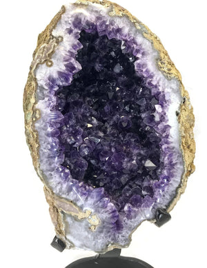 Unusual Blond Skinned Amethyst Geode with Custom Stand