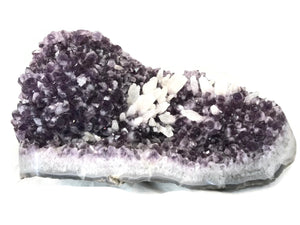 Amethyst Freeform with Flowerlike Calcite Crystals