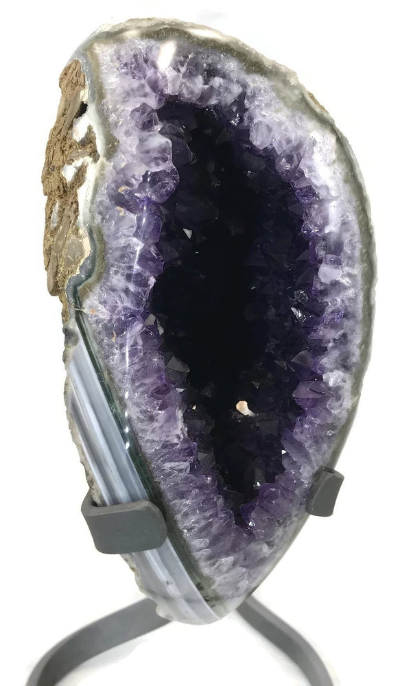 Standing Amethyst Geode with Banded Agate Accent