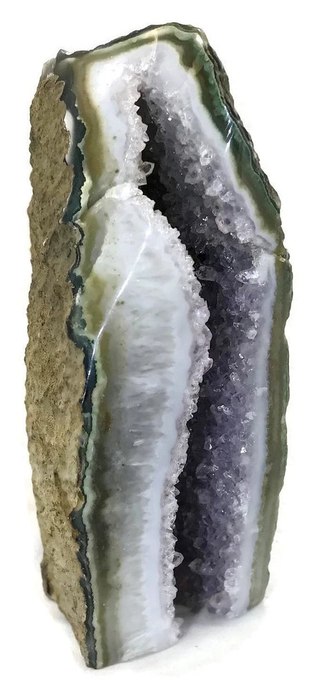 Green Banded Agate with Amethyst Geode