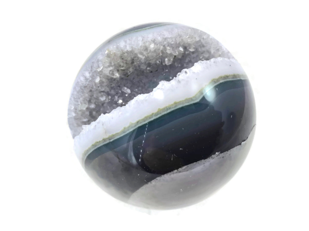Blue and Green Agate with Quartz Crystals Sphere