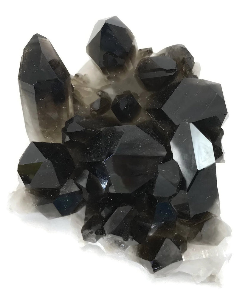 Black Quartz Crystal Cluster
