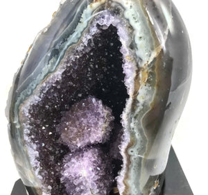 Polished Amethyst with Green Agate Geode