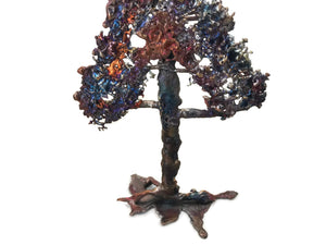 Standing Splash Copper Pine Tree Sculpture
