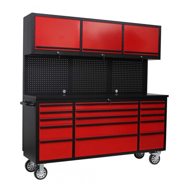 1.8M Red Powder Coated Rolling Workbench with Upper Cabinet Combo