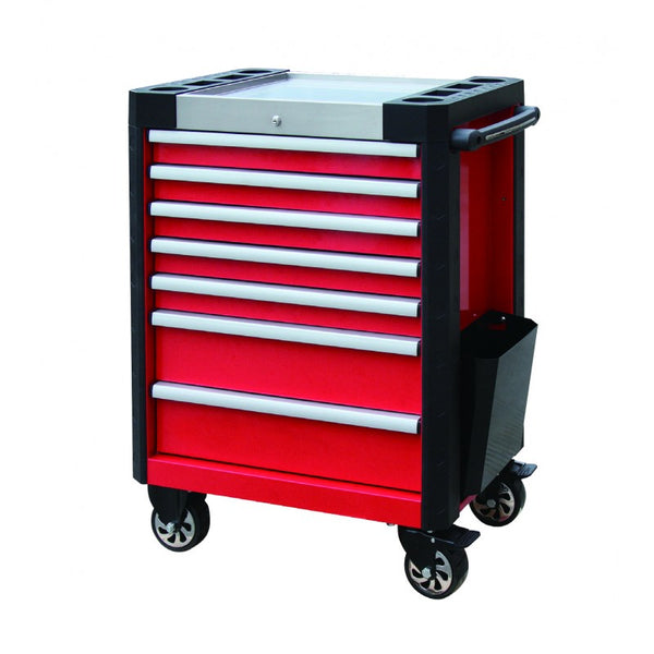 7 Drawer Heavy Duty Red Powder Coated Tool Chest with Stainless Steel Tray Top