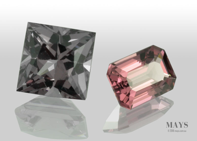 A pair of faceted spinel gemstones from Mogok, Myanmar (Burma).