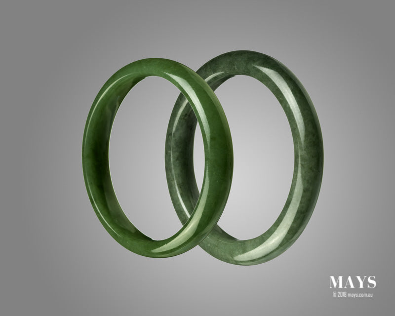 Showing Jadeite Bangles that are similar in appearance to Nephrite Jade Bangles