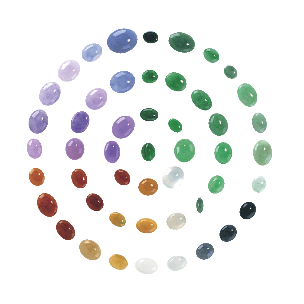 Various jadeite cabochons in varying colours