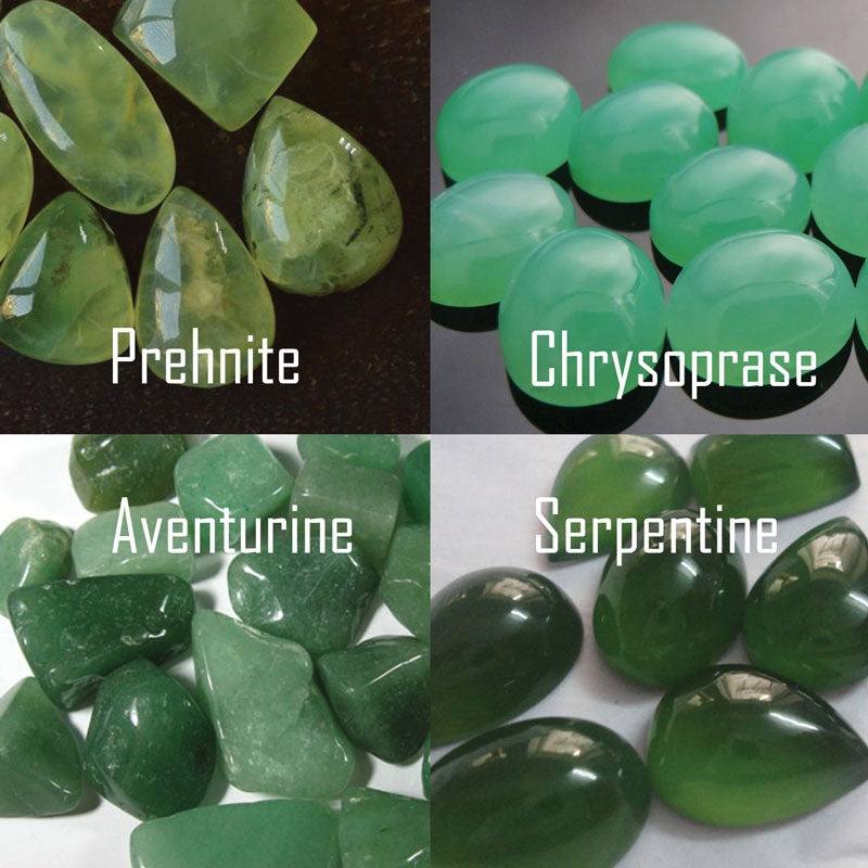 a collage of 4 photos showing the different imitations to jadeite