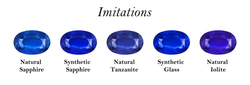 From the perspective of a buyer. A set of blue gemstones imitating a natural blue sapphire.