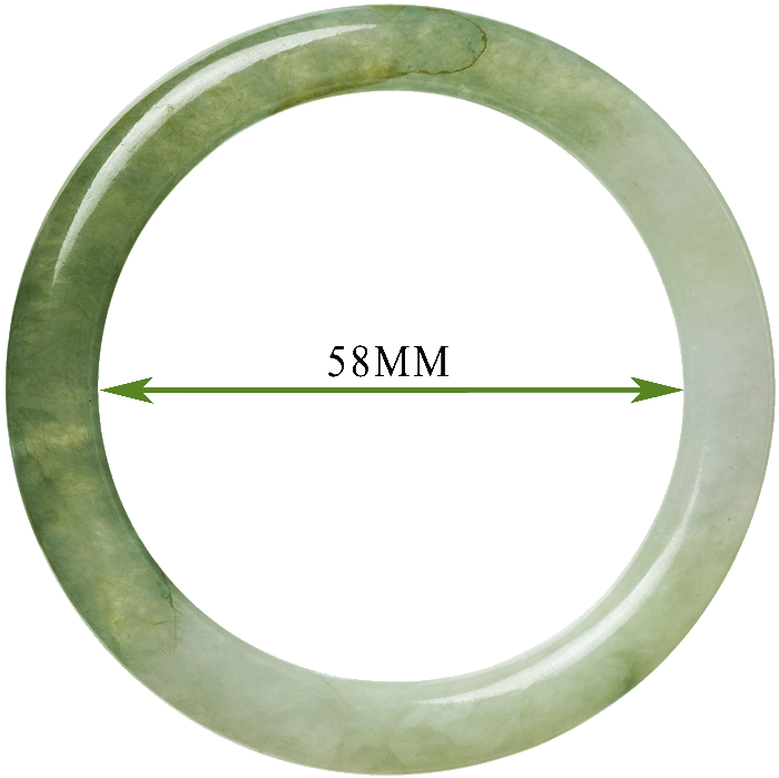 Photo of jade bangle with internal measurements